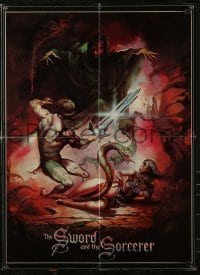 2p177 SWORD & THE SORCERER promo brochure 1982 opens to make a cool 30x33 Peter Jones art poster!
