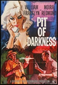 2r744 PIT OF DARKNESS English 1sh 1961 cool art of sexy blonde victim in lace nightie!