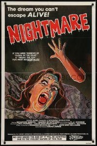 2r697 NIGHTMARE 1sh 1981 wild cartoony horror image, the dream you can't escape ALIVE!