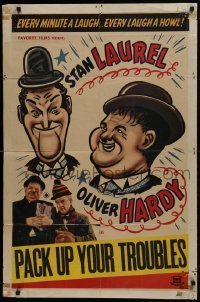 2r723 PACK UP YOUR TROUBLES 1sh R1940s wacky different artwork of Laurel & Hardy!