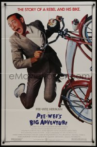 2r732 PEE-WEE'S BIG ADVENTURE 1sh 1985 Tim Burton, best image of Paul Reubens & his beloved bike!