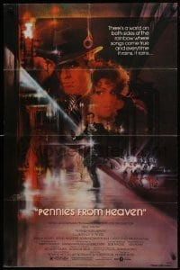 2r733 PENNIES FROM HEAVEN 1sh 1981 great Bob Peak art of Steve Martin & sexy Bernadette Peters!