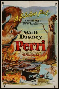 2r736 PERRI 1sh 1957 Disney's fabulous first in motion picture story-telling, wacky squirrels!