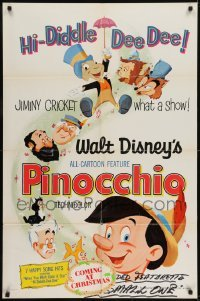 2r742 PINOCCHIO 1sh R1971 Disney classic fantasy cartoon about a wooden boy who wants to be real!