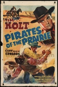 2r743 PIRATES OF THE PRAIRIE 1sh 1942 cool artwork of fighting cowboy Tim Holt!