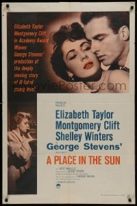 2r745 PLACE IN THE SUN 1sh R1959 Montgomery Clift, sexy Elizabeth Taylor, Shelley Winters