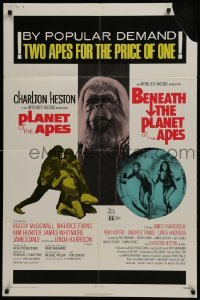 2r746 PLANET OF THE APES/BENEATH THE PLANET OF THE APES 1sh 1971 2 apes for the price of 1!