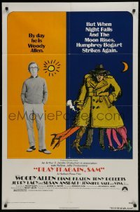 2r747 PLAY IT AGAIN, SAM 1sh R1976 wacky artwork of regular Woody Allen & Bogart Allen!