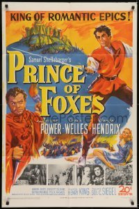 2r754 PRINCE OF FOXES 1sh 1949 Orson Welles, Tyrone Power w/sword protects pretty Wanda Hendrix!