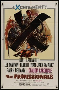 2r757 PROFESSIONALS 1sh 1966 Burt Lancaster, Lee Marvin, Claudia Cardinale, Howard Terpning art!