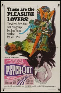 2r758 PSYCH-OUT 1sh 1968 AIP, psychedelic drugs, sexy pleasure lover Susan Strasberg, Dick Clark!