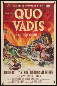 2r760 QUO VADIS 1sh 1951 art of Robert Taylor, sexy Deborah Kerr & Peter Ustinov in Ancient Rome!