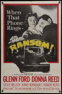 2r762 RANSOM 1sh 1956 great image of Glenn Ford & Donna Reed waiting for call from kidnapper!