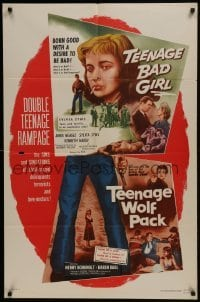 2r887 TEENAGE BAD GIRL/TEENAGE WOLF PACK 1sh 1957 crazed delinquents, terrorists & love-nesters!