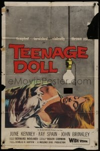 2r888 TEENAGE DOLL 1sh 1957 sexy Fay Spain, a tempted & tarnished bad girl violently thrown aside!
