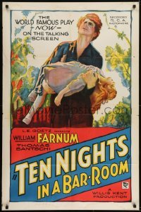 2r891 TEN NIGHTS IN A BARROOM style B 1sh 1931 cool artwork of Farnum carrying little girl!