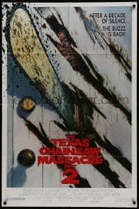 2r894 TEXAS CHAINSAW MASSACRE PART 2 1sh 1986 Tobe Hooper cool and unusual Huston art!