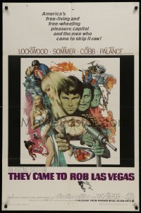 2r896 THEY CAME TO ROB LAS VEGAS 1sh 1968 Gary Lockwood, cool McCarthy art including roulette wheel