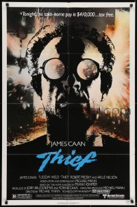 2r897 THIEF 1sh 1981 Michael Mann, really cool image of James Caan w/goggles!