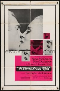 2r901 THOMAS CROWN AFFAIR 1sh 1968 best kiss close up of Steve McQueen & sexy Faye Dunaway!