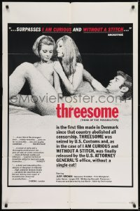 2r908 THREESOME 1sh 1970 Judy Brown, Jorgen Kiil, Marianne Tholsted, uncut from Denmark!
