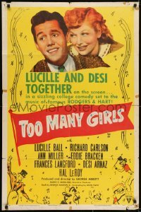 2r924 TOO MANY GIRLS style A 1sh R1952 different image of Lucille Ball & Desi Arnaz together!