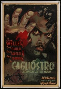 2s057 BLACK MAGIC linen Argentinean 1949 cool Aniram art of hypnotist Orson Welles as Cagliostro!