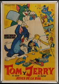 2s060 TOM & JERRY REYES DE LA RISA linen Argentinean 1950s cool different violent cartoon artwork!