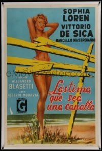 2s061 TOO BAD SHE'S BAD linen Argentinean 1954 Sophia Loren in bikini seems naked behind broken fence!