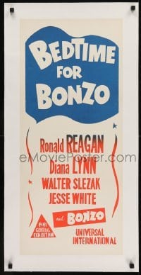2s034 BEDTIME FOR BONZO linen Aust daybill R1960s Ronald Reagan & Diana Lynn, colorful design!