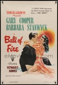 2s162 BALL OF FIRE linen 1sh 1941 art of Gary Cooper & sexy Barbara Stanwyck, Howard Hawks, rare!