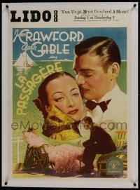 2s089 CHAINED linen pre-war Belgian 1936 different close up of Joan Crawford & Clark Gable, rare!