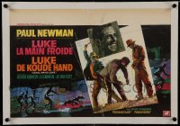 2s091 COOL HAND LUKE linen Belgian 1967 Paul Newman prison escape classic, different Ray artwork!