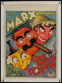 2s097 NIGHT AT THE OPERA linen pre-war Belgian 1936 art of Groucho, Chico & Harpo Marx, ultra rare!