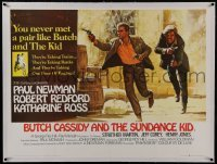 2s080 BUTCH CASSIDY & THE SUNDANCE KID linen British quad 1969 Beauvais art of Newman & Redford!