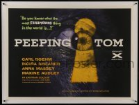 2s085 PEEPING TOM linen British quad 1960 Michael Powell voyeur classic, best eye in keyhole image!