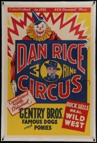 2s018 DAN RICE 3 RING CIRCUS linen 28x42 circus poster 1937 great art of clown and Dan Rice!