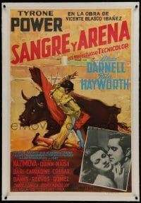 2s035 BLOOD & SAND linen Colombian poster 1942 great art of matador, Tyrone Power & Rita Hayworth!