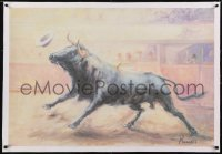 2s031 UNKNOWN ART PRINT linen 26x38 commercial poster 1960s Renau art of bull running in arena!