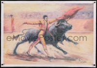 2s032 UNKNOWN ART PRINT linen 26x38 commercial poster 1960s Renau art of matador fighting bull!