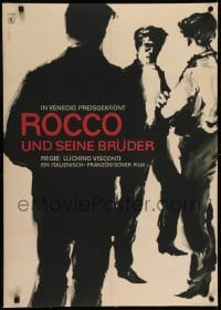 2s033 ROCCO & HIS BROTHERS linen East German 23x32 1962 Luchino Visconti, Lajos Gorog art, rare!