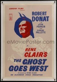 2s118 GHOST GOES WEST linen English 1sh R1950s art of Robert Donat, directed by Rene Clair, rare!