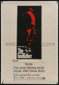 2s119 GODFATHER linen English 1sh 1972 different art of Marlon Brando, Francis Ford Coppola classic!