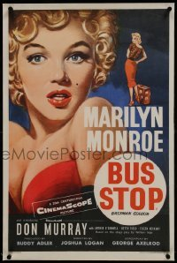 2s086 BUS STOP linen English double crown 1956 wonderful Tom Chantrell art of sexy Marilyn Monroe!