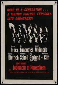 2s088 JUDGMENT AT NUREMBERG linen English double crown 1961 Tracy, Garland, Lancaster, Dietrich