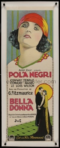2s069 BELLA DONNA linen French 12x35 1923 art of femme fatale Pola Negri, deadly to her husbands!
