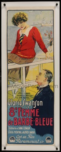 2s070 BLUEBEARD'S 8th WIFE linen French 13x36 1924 Tamagno art of Gloria Swanson by the ocean, rare!