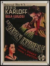 2s064 INVISIBLE RAY linen French 23x32 R1946 different art of Boris Karloff & Frances Drake, rare!