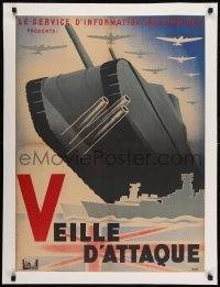 2s067 VEILLE D'ATTAQUE linen French 23x31 1945 great Finel WWII art, English liberation newsreel!