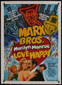 2s036 LOVE HAPPY linen German 1981 different Chantrell art of Marx Brothers & sexy Marilyn Monroe!
